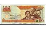 37857 - 100 Pesos Oro  Duarte, Sanchez, Mella    *   *   *   *