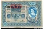 65930 - 1000 Kronen Bleu  Portrait Femme  Tampon Rouge & ECHT imprimé en Noir RARE