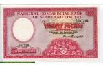 67817 - 20 Pounds National Bank of Scotland Limited Armoiries & Pont  RARETE