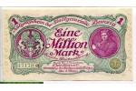 70444 - 1 Million Mark Notgeld  Violet  2 lions & Portrait jeune enfant   RARETE