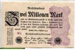 71187 - 2 Millionen Mark Uniface Motif guilloche lilas  lettre WB    *     *