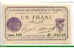 74074 - 1 FRANC Chambre de Commerce ALGER